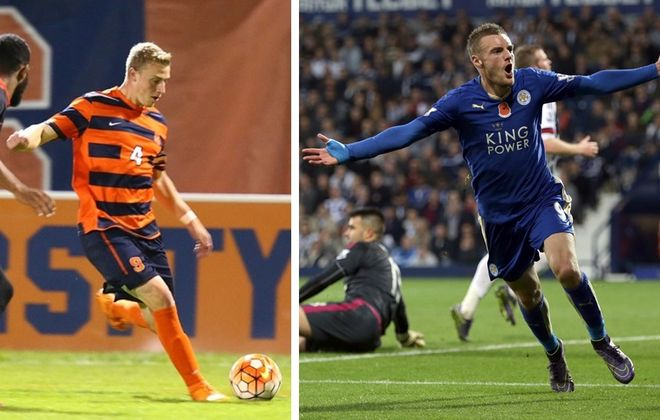 """Syracuse men's soccer's Liam Callahan, left, and Leicester City's Jamie Vardy are big topics on Episode 3 of the """"Football Club of Buffalo Show."""" (SU Athletics/Getty Images)"""