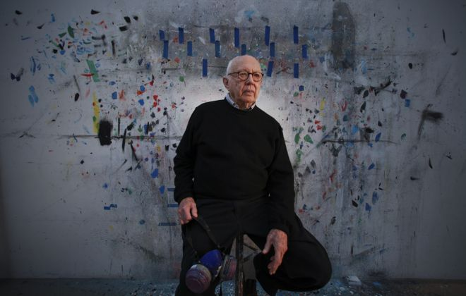 Ellsworth Kelly at his studio in Spencertown, N.Y., Jan. 10, 2012. Kelly, who in the years after World War II shaped a distinctive style of American painting by combining the solid shapes and brilliant colors of European abstraction with forms drawn from everyday life, died Dec. 27, 2015. He was 92. (Fred R. Conrad/The New York Times)