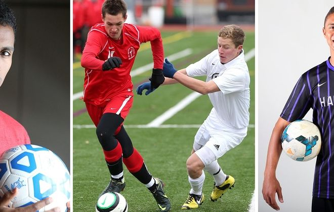 From left: Ezana Kahsay (International Prep), Tyler Eister (St. Francis), Jake Montante (Canisius HS) and Shane Greene (Hamburg) are among the soccer players who represented Section VI at the college level in 2015. (Buffalo News file photos)