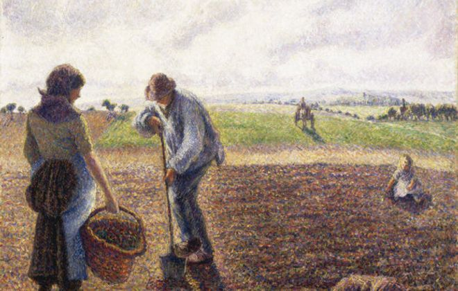 """Camille Pisarro's """"Peasants in the Fields, Eragny,"""" 1890. Collection of the Albright-Knox Art Gallery."""