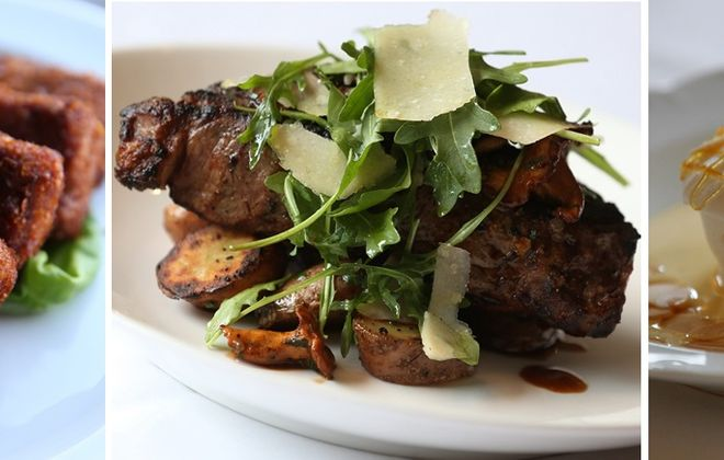 From left: BBQ pork nuggets from Black Sheep, 28-day dry-aged NY strip steak from Tempo and the Ile Flottante from Rue Franklin. (Sharon Cantillon/Buffalo News file photos)