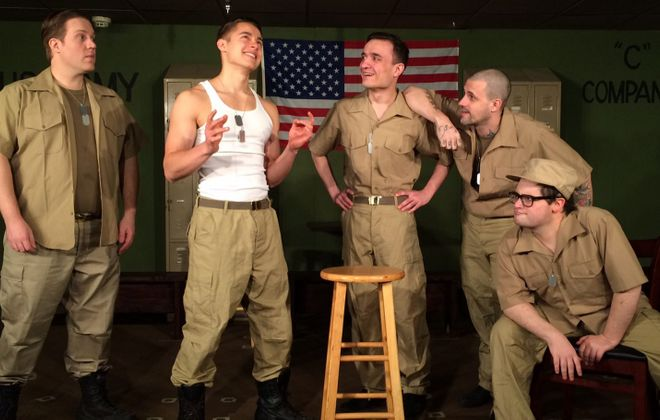 """Bryan Patrick Stoyle, left, Jordan Rosas, Jeremy Kreuzer, Jay Wollin and Ian Rawlins are featured in a Desiderio's Dinner Theatre production of """"Biloxi Blues,"""" running through May 15."""