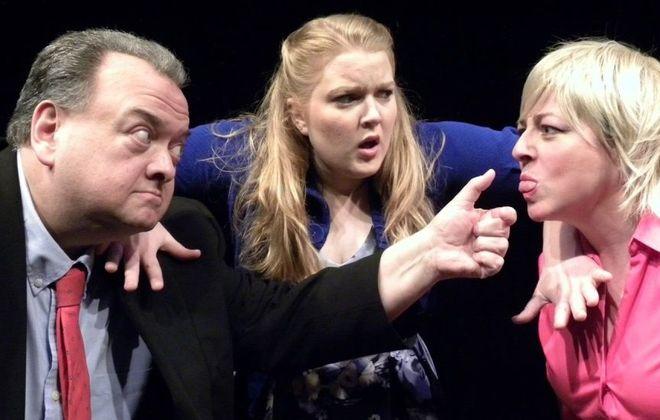 "Michael Starzynski, Edith Grossman and Stephanie Bax star in ""Buffalo Quickies"" 2016 at Alleyway Theatre."