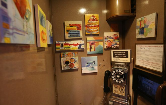 Hydraulic Hearth at 716 Swan St. in Buffalo has a phone booth-sized gallery and bills itself as having the smallest gallery in Buffalo.  Exhibiting her work now is Sara M. Zak with a series of small oil paintings. (Sharon Cantillon/Buffalo News)