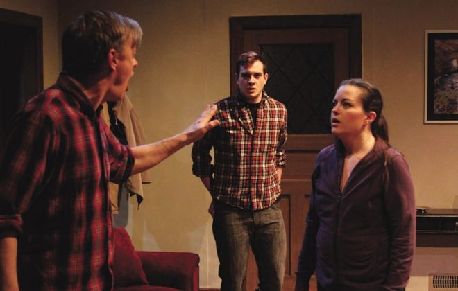 "Christopher Evans, Jesse Tiebor and Michele Marie Benzin star in Road Less Traveled Theater's production of ""Safe."""