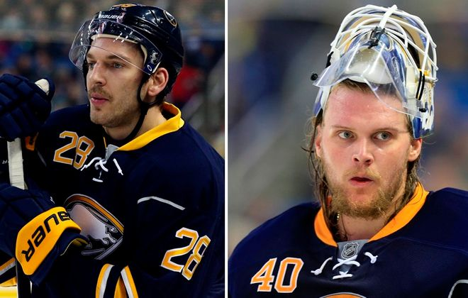 Zemgus Girgensons, left, and Robin Lehner were mischief-makers during Larsson's discussion about Manchester United. (Buffalo News file photos)
