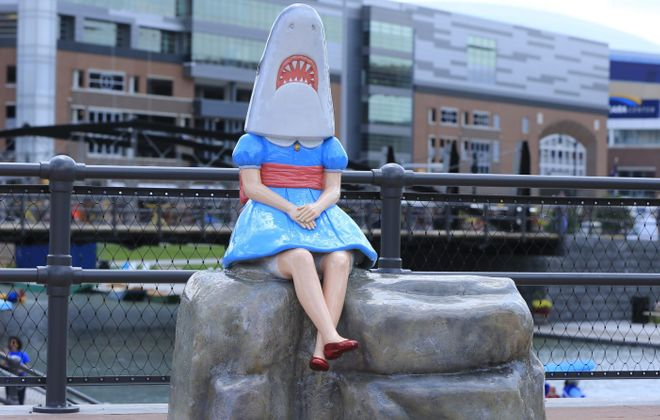 """Shark Girl,"" a sculpture by Casey Riordan Millard, is going away this month for touch-up work. (Harry Scull Jr./News file photo)"