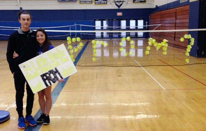 Sydney Atendido of East Aurora promposed to Kellan Wittmann before his early-morning badminton tournament.