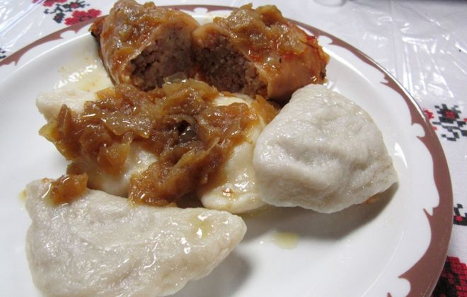 The $5 plate includes a stuffed cabbage and four pierogi. (Emeri Krawczyk/Special to The News)