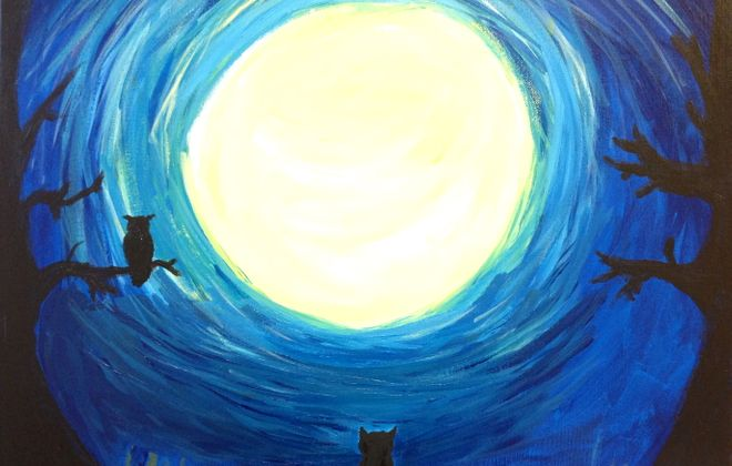 """Kristin Maggio's painting, """"Owl and Cat and the Haunted Moon,"""" is part of an exhibition in the Atrium 124 Gallery."""