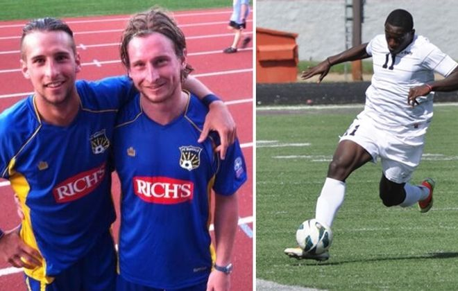 Brothers Chris and Ryan Walter, left, will lead the BSC Raiders of the BDSL against Ngwese Ebangwese, right, of the Italian-Americans SC Bakshi.