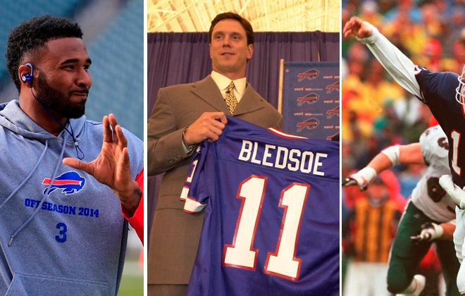 "Reasons past Bills quarterbacks like EJ Manuel, Drew Bledsoe and Alex Van Pelt, left to right, would not make good ""Dancing With the Stars"" contestants. (Buffalo News file photos)"