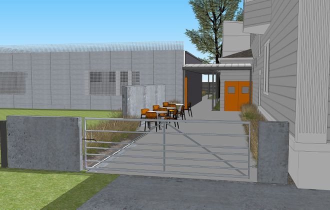 Torn Space Theater's proposed expansion includes the renovation of a former gas station on Fillmore avenue.  (Photo courtesy of Integrated Environments + Architecture)