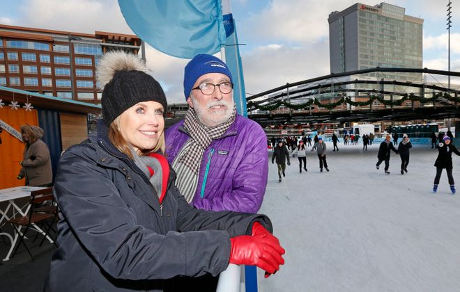 Katie Couric of Yahoo! overlooks the Ice at Canalside with Erie Canal Harbor Development Corporation CEO Robert Gioia on Jan. 5, 2016. (Robert Kirkham/Buffalo News)