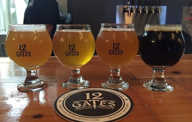 A flight of beer from 12 Gates includes a strong selection of IPAs. (Kevin Wise/Special to The News)