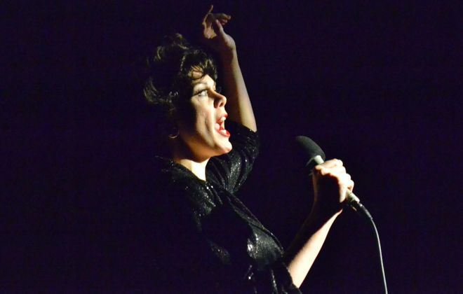 """Natasha Drena stars as Judy Garland in the Kavinoky Theatre's production of """"End of the Rainbow."""""""