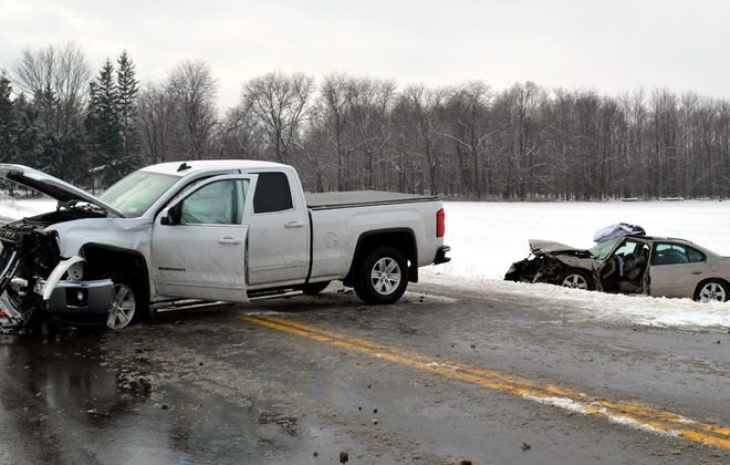 The scene of Thursday's collision on Sunset Drive in the Town of Lockport. (Larry Kensinger/Special to The News)