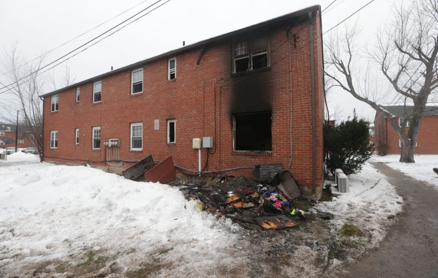 The remains of a fire in Amherst that caused $225,000 damage and sent one to the hospital Jan. 25. (John Hickey/Buffalo News)
