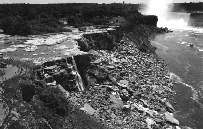 In 1969, the waters of the Niagara River were diverted to bypass the American Falls so effects of erosion could be studied. (Niagara Falls Public Library)