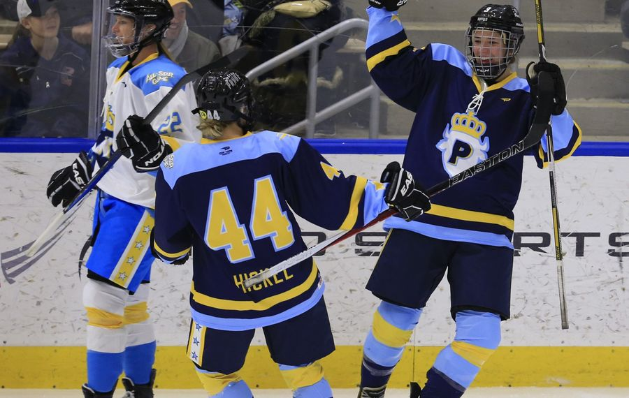 Kelley Steadman of Team Pfalzer celebrates one of her two goals against Team Knight in the inaugural NWHL All-Star Game.