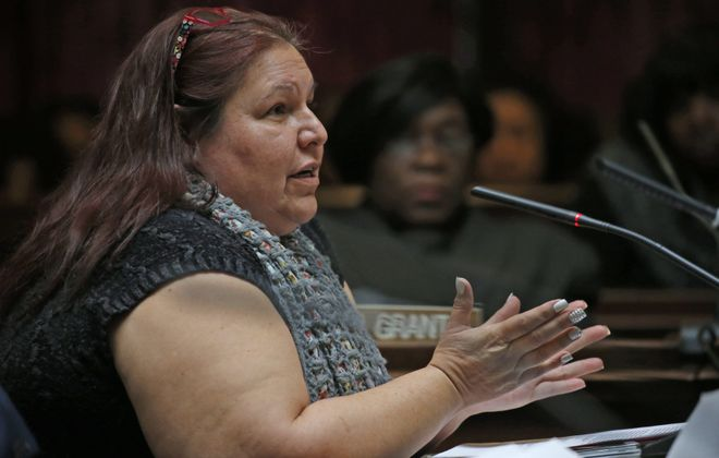 Melissa Mattison testifies to Erie County Legislature about alleged improprieties at Urban League.