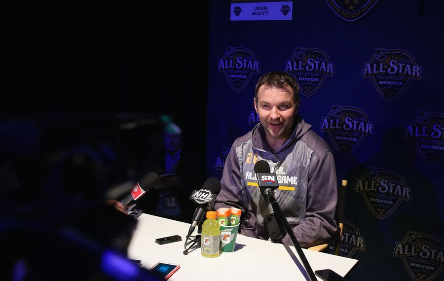 John Scott was the star attraction during Media Day at the NHL All-Star Game in Nashville on Friday.