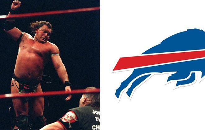 Tatanka, left, is the wrestler connected to the Buffalo Bills' logo by entertainment site UpRoxx. (Tatanka via Getty Images, Bills' official logo from BuffaloBills.com)