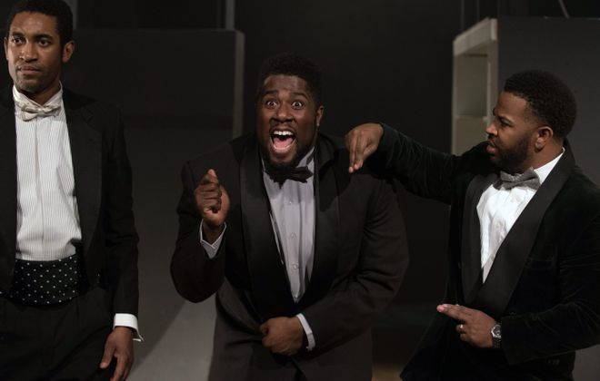 """Greg Howze, left, Dudney Joseph and Peter Johnson in """"The Shipment"""" at Torn Space Theater. The powerful play's  cast delivers on its promise of meaningful provocation."""