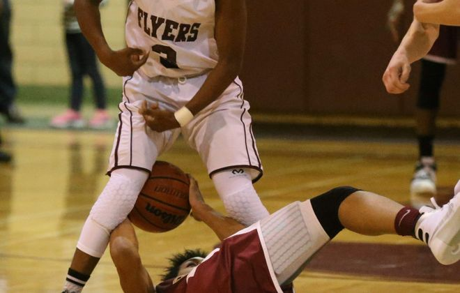 The defense of Maryvale's Ray Blackwell played a big part in the Flyers' victory.