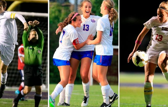 Troy Brady, left photo, Jamie Boyar, left in middle photo, Gabby Fogarty, center in middle photo, and Sydney Cerza, in right photo, have picked their college soccer destinations. (Buffalo News file photos)
