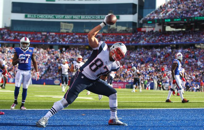 A sight with which Bills fans are all too accustomed: Rob Gronkowski celebrates a touchdown against his hometown team.
