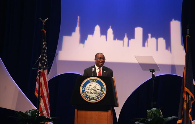 """In his State of the City address, Buffalo Mayor Byron Brown said, """"We will not be discouraged in our mission to keep moving our great city forward."""" (John Hickey/Buffalo News)"""