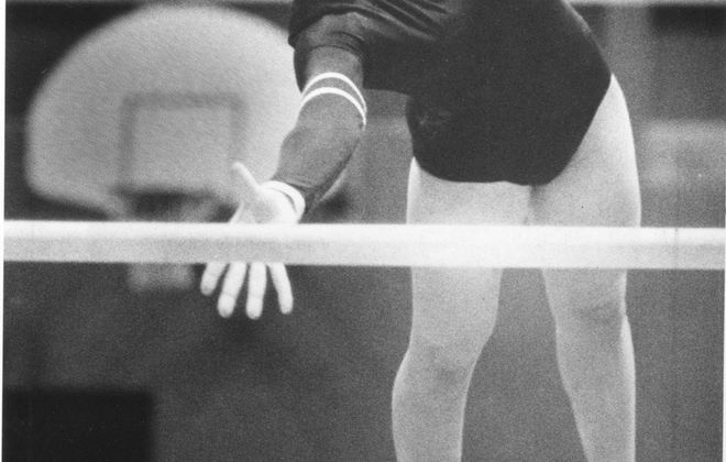 Jackie Brummer won the all-around title at the 1986 NCAA Gymnastics Championships.