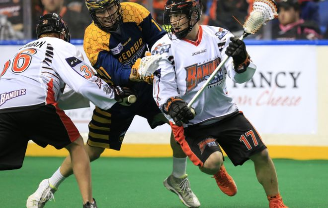 Buffalo Bandits Ryan Benesch moves the ball against the Georgia  Swarm during the first period at the First Niagara Center  on Saturday, Feb. 20, 2016.  (Harry Scull Jr./Buffalo News)