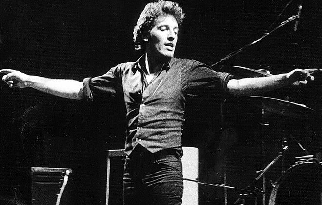 """Bruce Springsteen opens the """"Darkness on the Edge of Town"""" tour at Shea's Buffalo, 1978. (Photo credit: Eric Jensen)"""