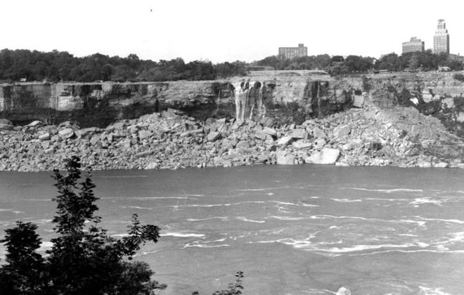 An image of the dewatered Niagara Falls. (via Niagara Falls Public Library)