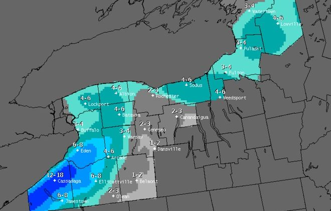 Predicted snowfall totals from 1 a.m. Wednesday through 4 p.m. Thursday. (National Weather Service)