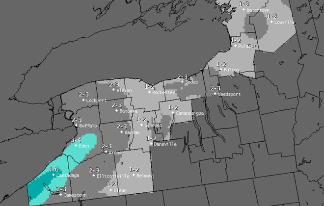 Predicted snowfall accumulations by 7 a.m. Friday. (National Weather Service)