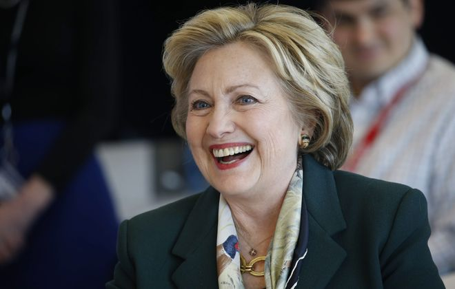 """Democratic presidential nominee Hillary Clinton speaks during an """"economic round table discussion"""" at the Jacobs Institute during a campaign stop in Buffalo on April 8, 2016. (Derek Gee/Buffalo News)"""