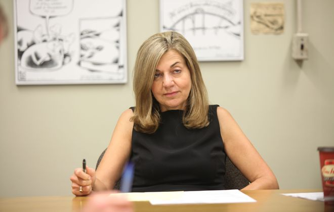 Buffalo News Editor Margaret Sullivan meets with staff, and then conducts her last meeting before leaving the post in August 2012. (Harry Scull Jr./Buffalo News file photo)