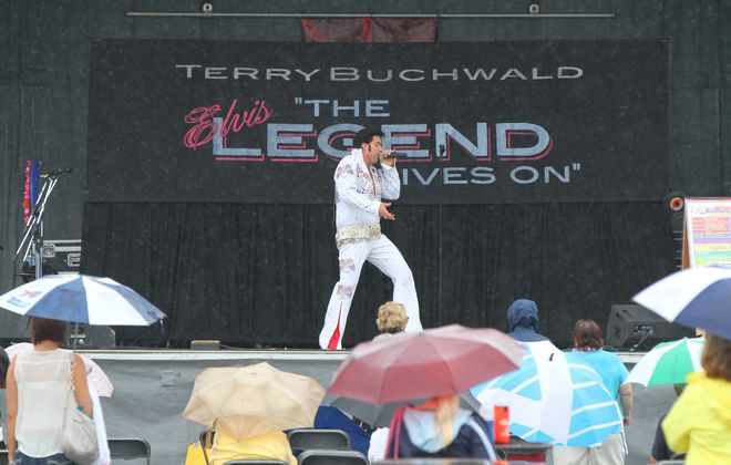 Elvis impersonator Terry Buchwald performs at the Burger Fest in 2014.  (Mark Mulville/Buffalo News)