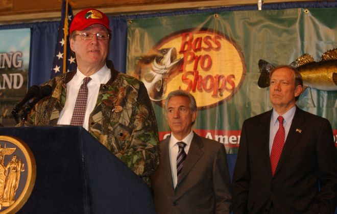 In this 2004 file photo, then-Buffalo Mayor Anthony Masiello speaks at an announcement of a Bass Pro Shop to open in Buffalo. Behind Masiello is Charles Gargano, left, chairman of the Empire State Development Corp. and then-New York State Governor George Pataki. (Buffalo News file photo)