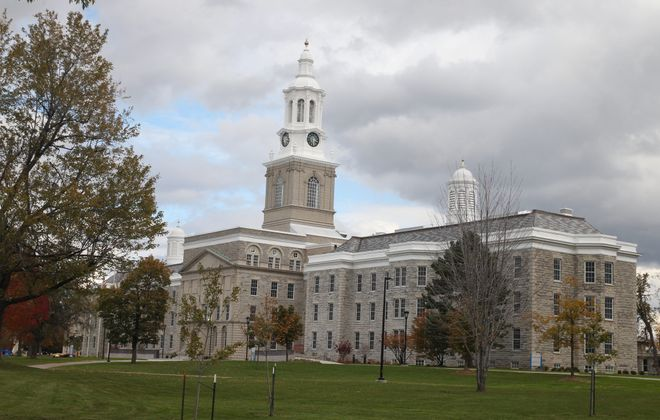 Hayes Hall, a landmark stone structure that faces Main Street on UB's South Campus, was built in the late 1870s as an insane asylum. (John Hickey/News file photo)