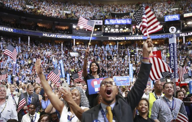People cheer at the Democratic National Convention in 2016 in Philadelphia. (Damon Winter/New York Times)