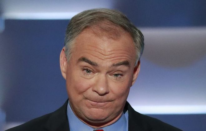 Sen. Tim Kaine of Virginia, Hillary Clinton's running mate, gets ribbed for his long lashes. (Damon Winter/The New York Times)