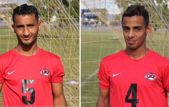 FC Yemen and Erie Community College teammates Abdulqawi Mohamed, left, and Bassam Harhara helped rescue their BDSL club from the jaws of relegation. (via ECC Athletics)