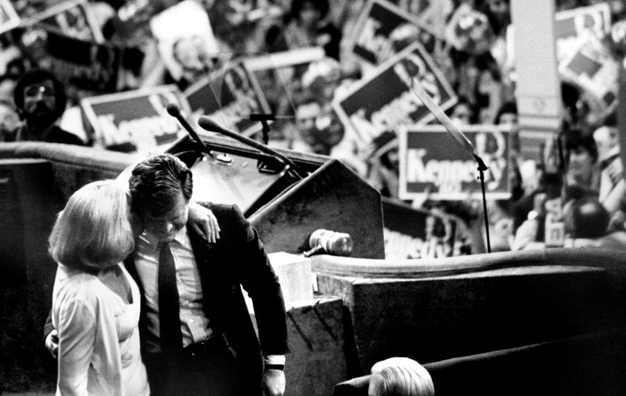 Ted Kennedy leaves the stage to cheers at the Democratic National Convention of 1980. (D. Gorton/New York Times file photo)