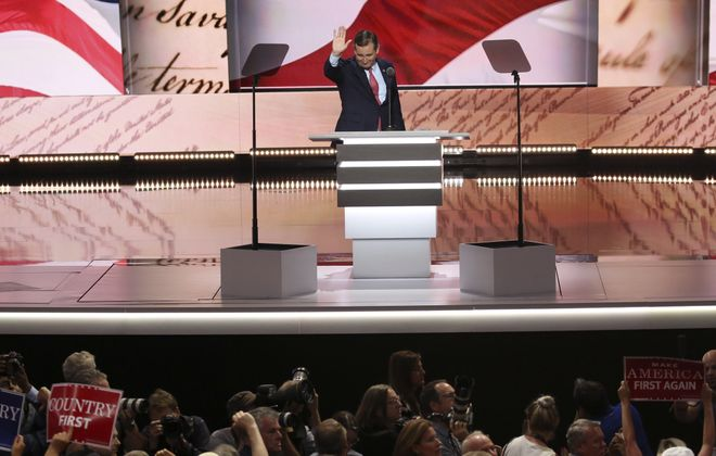 "Sen. Ted Cruz of Texas  spoke to mounting boos and chants of ""Keep your pledge!"" as he declined to explicitly endorse Donald Trump on the third day of the Republican National Convention. (Damon Winter/New York Times)"
