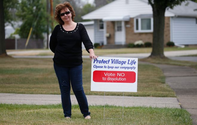 Leigh Ann Wacht is spearheading a citizens grassroots group called VOTE, which is fighting dissolution of the Village of Depew that is being pushed by an opposing group circulating petitions for a voter referendum to eliminate the village. (Robert Kirkham/Buffalo News)