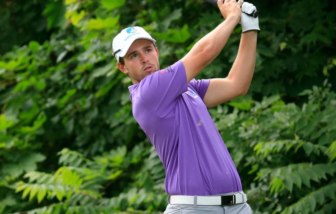 Australian Harrison Endycott tees off on the 16th hole during round two of the Porter Cup at  Niagara Falls Country Club.  (Harry Scull Jr./Buffalo News)